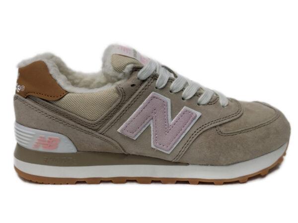 New Balance 574 на меху бежевые с розовым (35-41)