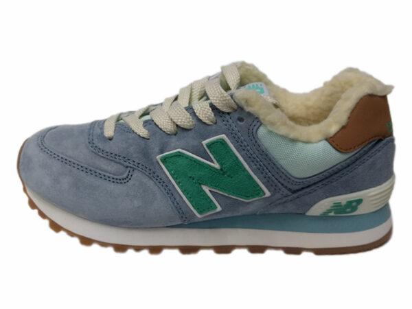 New Balance 574 на меху серо-голубые с зеленым (35-41)
