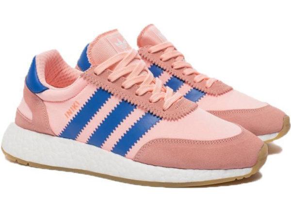 Adidas Iniki Runner Boost розовые с синим (35-40)