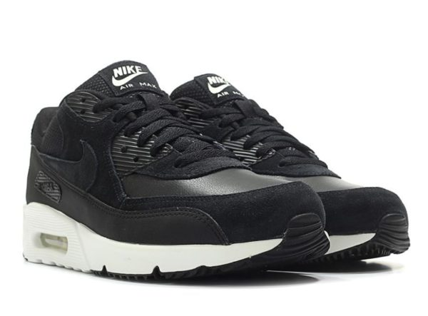 Nike Air Max 90 замша черные с белым (40-44)