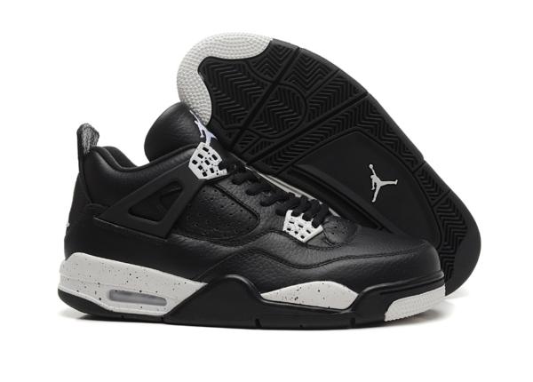 Nike Air Jordan 4 Retro черные с белым кожа (40-45)