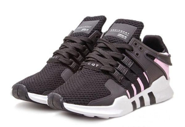 """Adidas EQT Support """"ADV"""" черные с розовым (35-39)"""