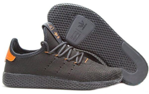 Adidas x Pharrell Williams Tennis Hu черные с оранжевым (35-44)