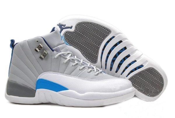 Nike Air Jordan 12 Retro белые с серым и синим (40-45)