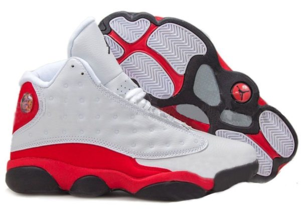 Nike Air Jordan 13 Retro белые с красным и черным (40-45)