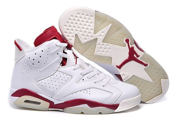 Nike Air Jordan 6 Retro белые с красным (35-45)
