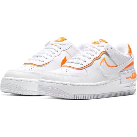 Nike Air Force 1 Shadow белые с оранжевым кожаные женские (35-39)