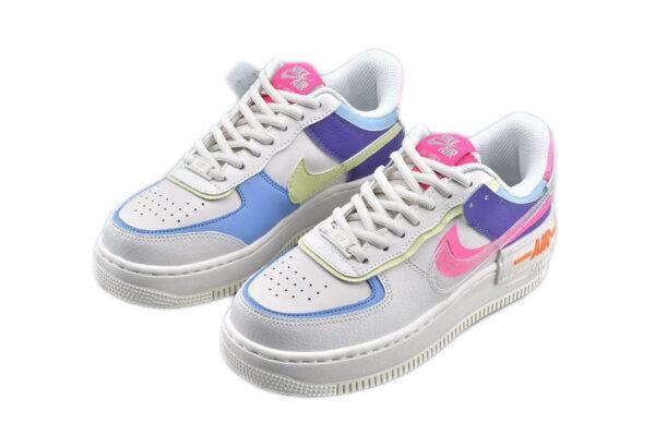 Nike Air Force 1 Shadow белые с фиолетовым и зелено-розовым кожаные женские (35-39)