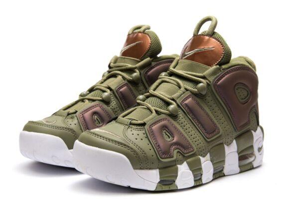 Nike Air More Uptempo зеленые с коричневым и белым нубук мужские-женские (35-45)