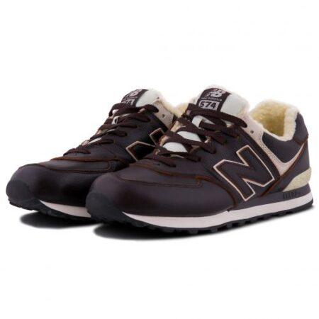 Зимние New Balance 574 с мехом коричневые кожаные мужские (40-45)