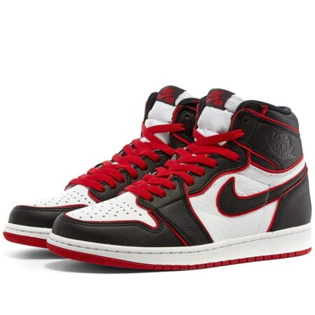 Nike Air Jordan 1 Bloodline черно-белые с красным кожаные мужские-женские (35-44)