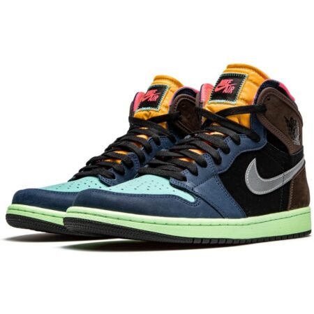 Nike Air Jordan 1 High Tokyo Bio Hack сине-черно-коричневые-голубые нубук мужские-женские (35-45)