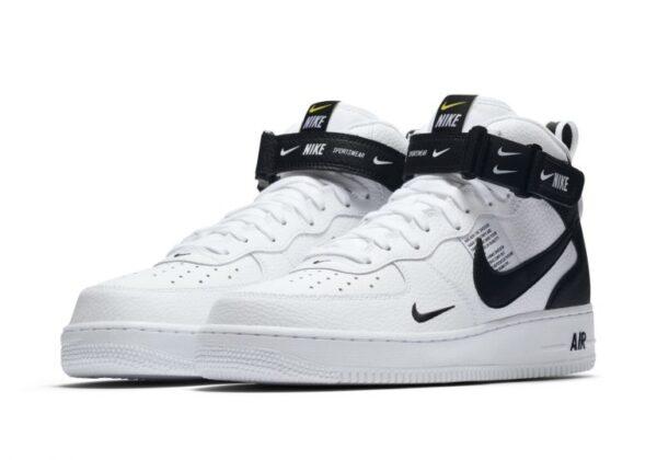 Зимние Nike Air Force 1 Mid 07 LV8 Utility с мехом белые с черным кожаные мужские-женские (35-44)