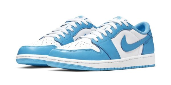 Nike Air Jordan 1 Low University Blue бело-голубые кожаные женские (35-39)