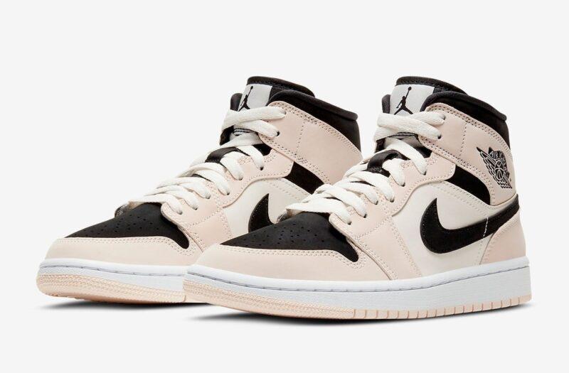 Nike Air Jordan 1 Mid Barely Orange бежево-черные с белым (35-39)